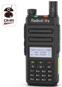 This is an image of a black Radioddity GD-77 DMR Digital/Analog Two Way Radio