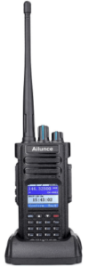 This is an image of a black Ailunce HD1 DMR Radio with charger