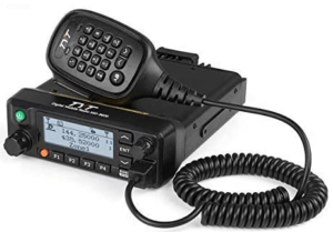 This is an image of a black TYT MD-9600 GPS Digital/FM Analog Dual Band DMR Mobile Transceiver 50-Watt VHF/UHF Car Truck Amateur Radio HAM Two Way DMRRadio