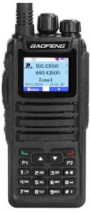 This is an image of a black Baofeng DM-1701 Dual Band DMR radio walkie talkie