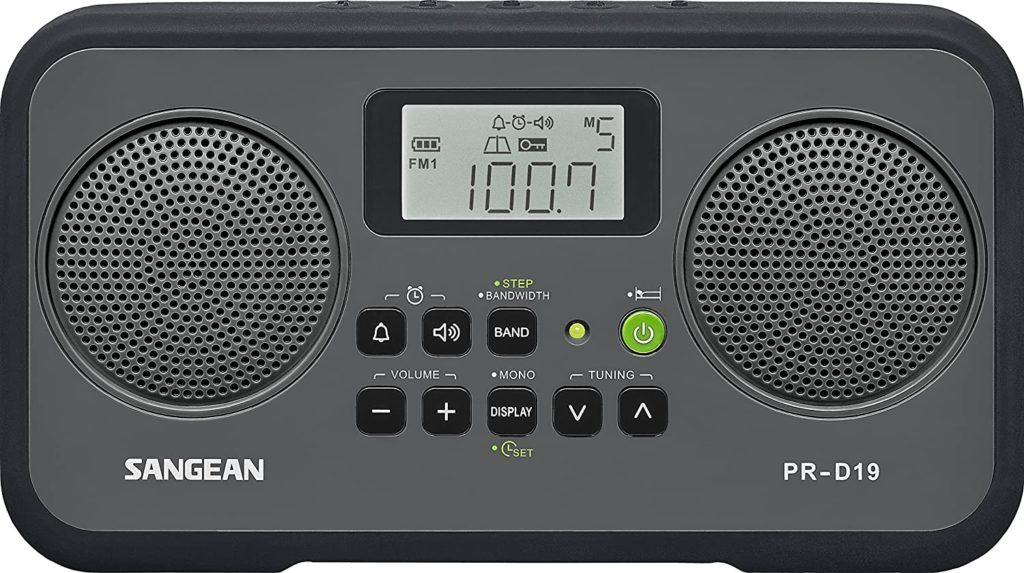 This is an image of portable digital radio by sangean in black color